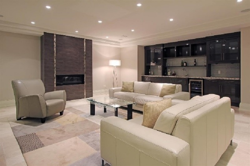 Clean & Modern Basement Sitting Area
