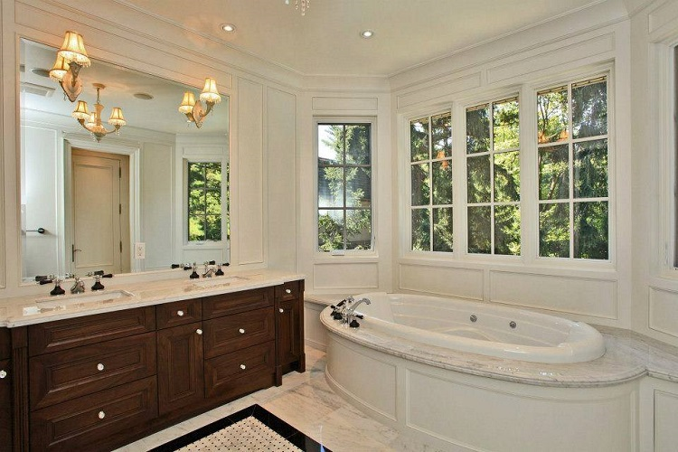 Elegant Large Window Over Tub