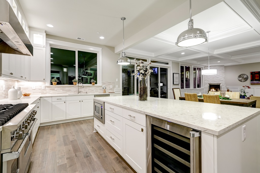 Open Concept Kitchen with Bar Stools